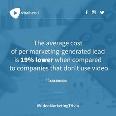 """""""The average cost of per marketing generated lead is lower when compared to companies that don't use video"""" - Aberdeen Inbound Marketing, Digital Marketing, Competitor Analysis, Aberdeen, Trivia, Seo, Social Media, Business, Instagram Posts"""