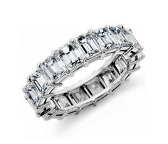 Truly like no other, this diamond eternity ring showcases perfectly matched emerald-cut diamonds set in enduring platinum. Total carat weight varies by ring size. Eternity Ring Diamond, Eternity Bands, Diamond Rings, Ruby Rings, Solitaire Diamond, Baguette Diamond, Womens Wedding Bands, Wedding Rings For Women, Trendy Wedding