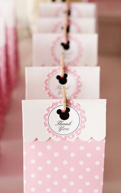"MINNIE MOUSE Printable Favor Tags - 2"" Circles - ""Thank You"""