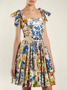 Majolica-print cotton-poplin mini dress | Dolce & Gabbana | MATCHESFASHION.COM Look Fashion, Timeless Fashion, Fashion Outfits, Womens Fashion, Fashion Design, Nice Dresses, Casual Dresses, Skirt And Top Set, Poplin Dress
