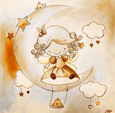 Posterazzi Fairy Canvas Art - Diana Vicedo x My Cute Love, Easy Drawings For Kids, Good Night Moon, Baby Tattoos, Baby Art, Cartoon Pics, Cute Images, Amigurumi Doll, Stars And Moon