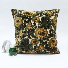 Luxury cut velvet floral pillow - Handmade with Love from vintage upholstery fabrics - pinned by pin4etsy.com