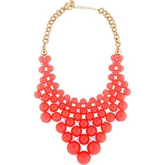 Pre-owned Kate Spade New York Bib Necklace ($75) ❤ liked on Polyvore featuring jewelry, necklaces, bib necklace, coral bib necklace, bead necklace, double chain necklace and preowned jewelry