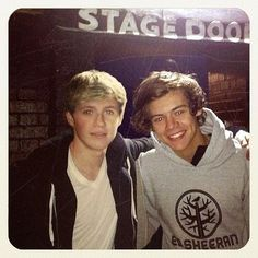 niall and harry backstage of the ed sheeran concert