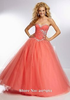 Coral Quinceanera Dresses Ball Gown Tulle Beads Long Prom Gown vestido de debutante Sweet 16 Dresses Stock Size 6 8 10 12 14 16