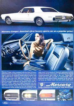 1966 Ad Vintage '67 Ford Mercury Cougar White Sports Car Classic Automobile YLZ2
