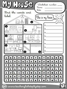 My house - Worksheet 1 (B&W version)