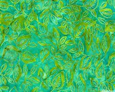 Tonga Tahiti - Honeysuckle Vine Batik - Jade Green