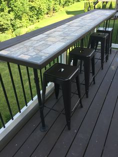 Outdoor Tiled Bar On The Deck The Pipe Legs!