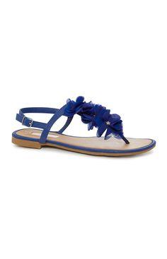 Blauwe sandaal met stoffen bloemen