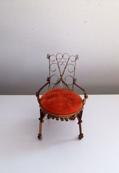 Miniature chair rolled filigree doll chair small tin by KimBuilt, $18.00