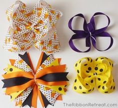 How to Make Bows: Twisted Boutique, Spikes, Pinwheel, Surround Loops - and how t. How to Make Bows Making Hair Bows, Diy Hair Bows, Diy Bow, Diy Ribbon, Ribbon Crafts, Ribbon Bows, Ribbons, Bow Making, Ribbon Flower