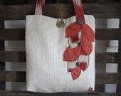Womens large tote shoulder bag, Orange and Ivory handbag, Fabric handmade Messenger Laptop bag, Travel Vacation bag, Applique Carry all bag