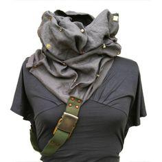 bohemian linen clothing | Cowl Linen Scarf Hood- Apocalyptic Haute Couture fashion - Bohemian ...