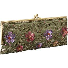 Moyna Handbags Clutch w/ Sequin Flowers and Leaves Olive - Moyna Handbags Evening Bags