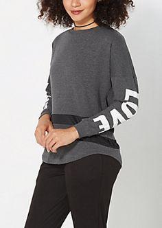 Gray Mesh Striped Love Sweatshirt
