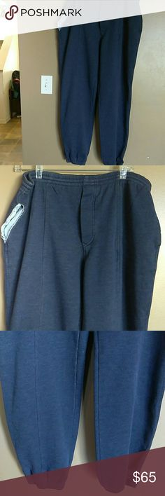 """Christian Dior Monsieur Faux Denim Joggers - Large Jogging pants are very nice with an elastic waist and hem. The pants have pockets on each side that has chambray material and look distressed or possibly torn and one pocket in the rear. Front of pants have buttons where zipper would be (no zipper) and there is a seam line made down the middle of the joggers. There is an elastic the string in the waist of the pants. Pants have a """"faux denim/Heather blue"""" to them w/chambray pockets.  Approx…"""