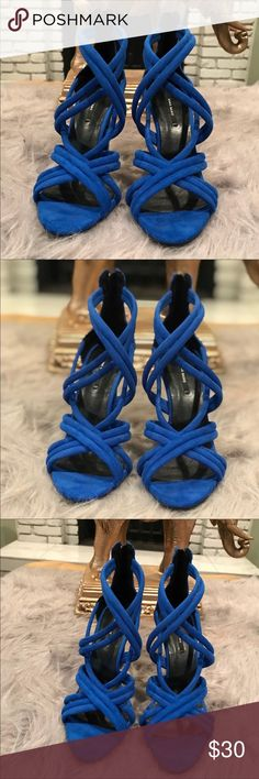 "Zara Strapped Heels Gorgeous cobalt blue strapped heels with back zip closure and open toe front. In excellent condition. Heel height is 4.5"" Zara Shoes Heels"