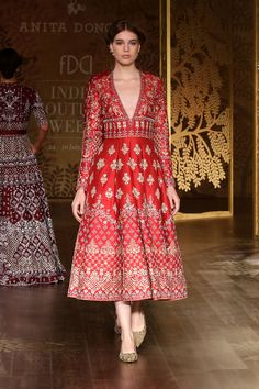 Full sleeves red midi frock by Anita Dongre Indian Gowns Dresses, Pakistani Dresses, Bridal Dresses, Pakistani Suits, Traditional Fashion, Traditional Dresses, Indian Wedding Outfits, Indian Outfits, Anarkali