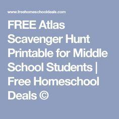 FREE Atlas Scavenger Hunt Printable for Middle School Students | Free Homeschool Deals ©