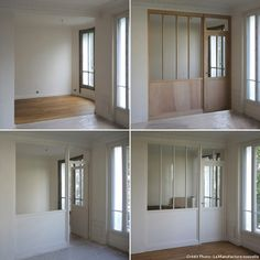 La pose dune verrière Cloison de Séparation Les plus belles verrières Small Space Living, Small Spaces, Diy Room Divider, Interior Windows, Lofts, Small Apartments, Interior Design Living Room, New Homes, House Design