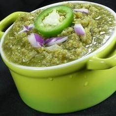 "Chihuahua-Style Salsa Verde | ""This recipe comes from a friend's mother in Chihuahua, Mexico. The heat can be adjusted to fit any taste and is very versatile. I use this to make chicken tamales verde, put on hamburgers, everything!"""