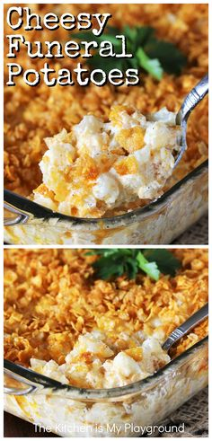 Funeral Potatoes (the BEST Easy Cheesy Potatoes) ~ Cheesy Potatoes are an easy, creamy, comfort food casserole perfect for potlucks, cookouts, family gatherings, or for any everyday meal, for that matter. Loaded with cheesy deliciousness, they're always a crowd-pleasing favorite! www.thekitchenismyplayground.com