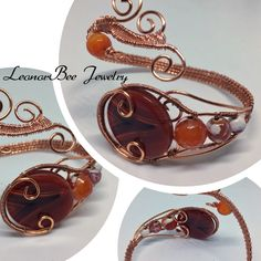 Bracelet with fire agate, carnelian and copper wire
