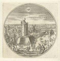 Adriaen Collaert   Februari, Adriaen Collaert, Hans Bol, Claes Jansz. Visscher (II), 1578 - 1582   Ronde lijst met een wintertaferelen in de stad in de maand februari. Buiten de stad schaatsen mensen op de kanalen. Middenboven het sterrenbeeld vissen. De prent is deel van een twaalfdelige serie over de twaalf maanden.