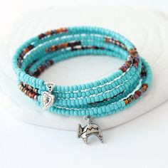 Southwest Bracelet - Chocolate Brown, Turquoise Seed Beads, Chocolate Brown Beads, Pewter Charms, Memory Wire Bracelet