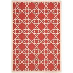 Safavieh Poolside Red/ Beige Indoor Outdoor Rug (6'7 x 9'6) (CY6032-248-6) (Polypropylene, Border)
