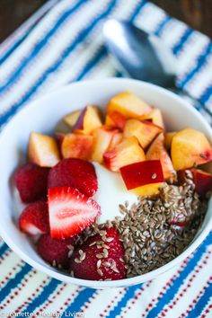 Need a quick nutrient rich breakfast? Try this idea from Jeanette's Healthy Living. 1 cup low fat yogurt with 1/2 cup fresh berries and/or fruit and 1 tablespoon flax seeds (be sure the seeds are ground) http://jeanetteshealthyliving.com/2014/09/banana-oat-chocolate-peanut-butter-smoothie-wellness-life-hacks-for-moms.html