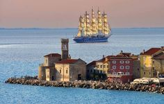 Piran, Slovenia I remember a little cafe along the water's edge there, where I had ice cream in the shape of spaghetti with meatballs! What A Wonderful World, Beautiful World, Beautiful Places, Royal Clipper, Lake Water, Great Hotel, Water Activities, Photos, Pictures
