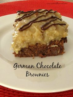 Looking for that decadent dessert your entire family will love? Try these German Chocolate Brownies.  Moist Brownies topped with caramel, chocolate and the traditional coconut pecan frosting.  Mmm Mmm Good!