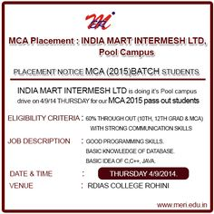 MCA Placement: INDIA MART INTERMESH LTD, Pool Campus http://wp.me/p4iyfw-1ra