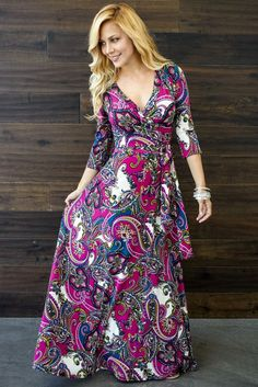 Magenta-Bohemian-Draped-3/4-Sleeve-Maternity-Maxi-Dress