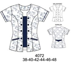 Delantales Scrubs Pattern, Scrubs Uniform, Sewing Blouses, Uniform Design, Altering Clothes, Fashion Design Sketches, Dress Patterns, Blouse Designs, Short Sleeve Dresses