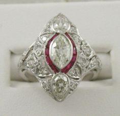 Art Deco Platinum Filigree Diamond & Ruby Ring