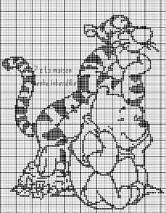 Baby blanket Winnie the Pooh filet crochet pattern Filet Crochet Charts, Knitting Charts, Disney Cross Stitch Patterns, Cross Stitch Designs, Cross Stitching, Cross Stitch Embroidery, Silhouettes Disney, Cross Stitch Silhouette, Crochet Blanket Edging