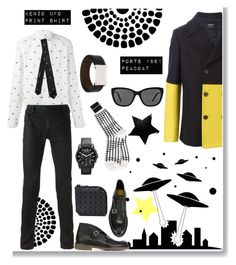 """""""Men In Black...and Yellow"""" by grapecrush ❤ liked on Polyvore featuring Issey Miyake, Armani Exchange, Burberry, menswear, blackwhiteyellow and peacoats"""