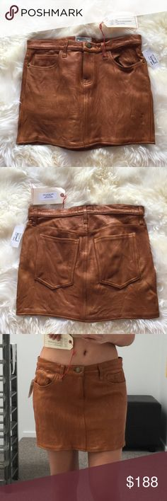 Current Elliott leather mini skirt. Camel. 27 This is a company sample and sold this for $150 to sample shoppers, and lucky for u, u get to shop the sample sale pricing! This retail would be $400-$500. Please note that the leather inside has discoloration but does not effect the outside of the shirt nor the integrity of it. No tag but it fits like a 27. Size 4. Current/Elliott Skirts Mini