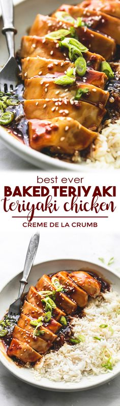 This recipe makes the BEST Ever Baked Teriyaki Chicken! Juicy and tender chicken breasts cooked in the most incredible, super easy homemade teriyaki sauce with simple ingredients. The only baked teriyaki chicken recipe you'll ever need!   lecremedelacrumb.com #teriyakichicken #easyrecipe #bakedchickenrecipe