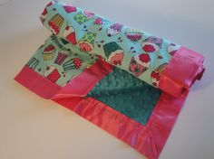 Girl's Cute as a Cupcake Baby Blanket  Soft by SweetBabyJaneCo, $35.00