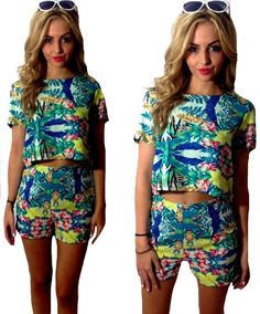 NEW WOMENS LADIES  FLORAL PRINT TOP SHORTS SET CO-ORD  2 PIECE TWO PIECE (BQ) #Unbranded #Coord