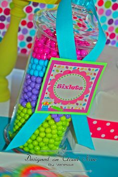 Beautiful colors of Sixlets at a Candyland birthday party!   See more party ideas at CatchMyParty.com!
