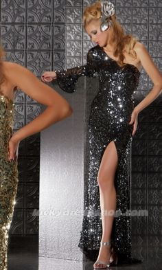 Black One Shoulder Long/Floor-length Natural Sequined Prom Dress (MF5F3C)-LuckyDressShop.com