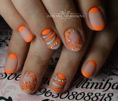 Super nails design with rhinestones orange ideas Beige Nail Art, Orange Nail Art, Orange Nail Designs, Beige Nails, Orange Nails, French Tip Manicure, Diy Manicure, Pedicure, Get Nails