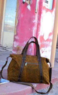 Women's Canvas Duffle Bag Military Handbag Over Night Distressed Camel / Brown