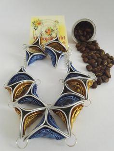 Satz von Schmuck mit Nespresso-Kapseln Schmuck-Set mit