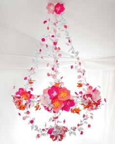DIY Wedding Decor from Paper. This whimsical chandelier is crafted entirely out of brightly-colored paper and is an example of a truly beautiful wedding elegant look on a tight budget!- are for you, they're your colors and cute :) Martha Stewart Weddings, Diy Paper, Paper Crafts, Kids Crafts, Diy And Crafts, Paper Chandelier, Paper Lamps, Flower Chandelier, Chandelier Ideas